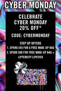 20% Off Your Order PLUS A Free Makeup Bag and Liptensity Lipstick When You Spend £45/60