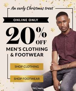 20% off men's clothing and shoes (Online only) @ Asda George free click and collect