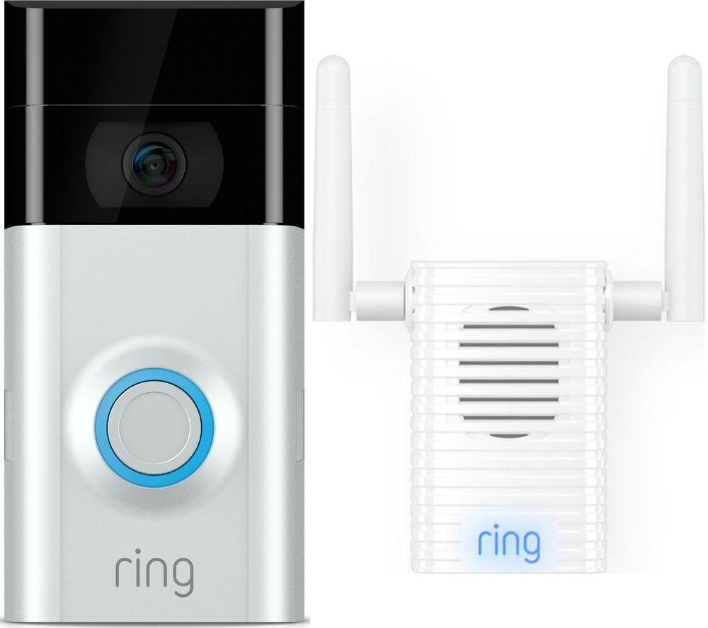 RING Video Doorbell 2 & Chime Pro Wi-Fi Extender & Indoor Door Chime Bundle £136.92 Currys