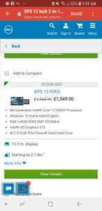Dell XPS 13, i7,8gb,512SSD, QHD, 2 in 1 - £989 at Dell