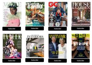 1 Year's Subscription to The World of Interiors,Wired,Vogue,Traveller,GQ,House & Garden,Vanity Fair & Tatler for £19 with Conde Naste