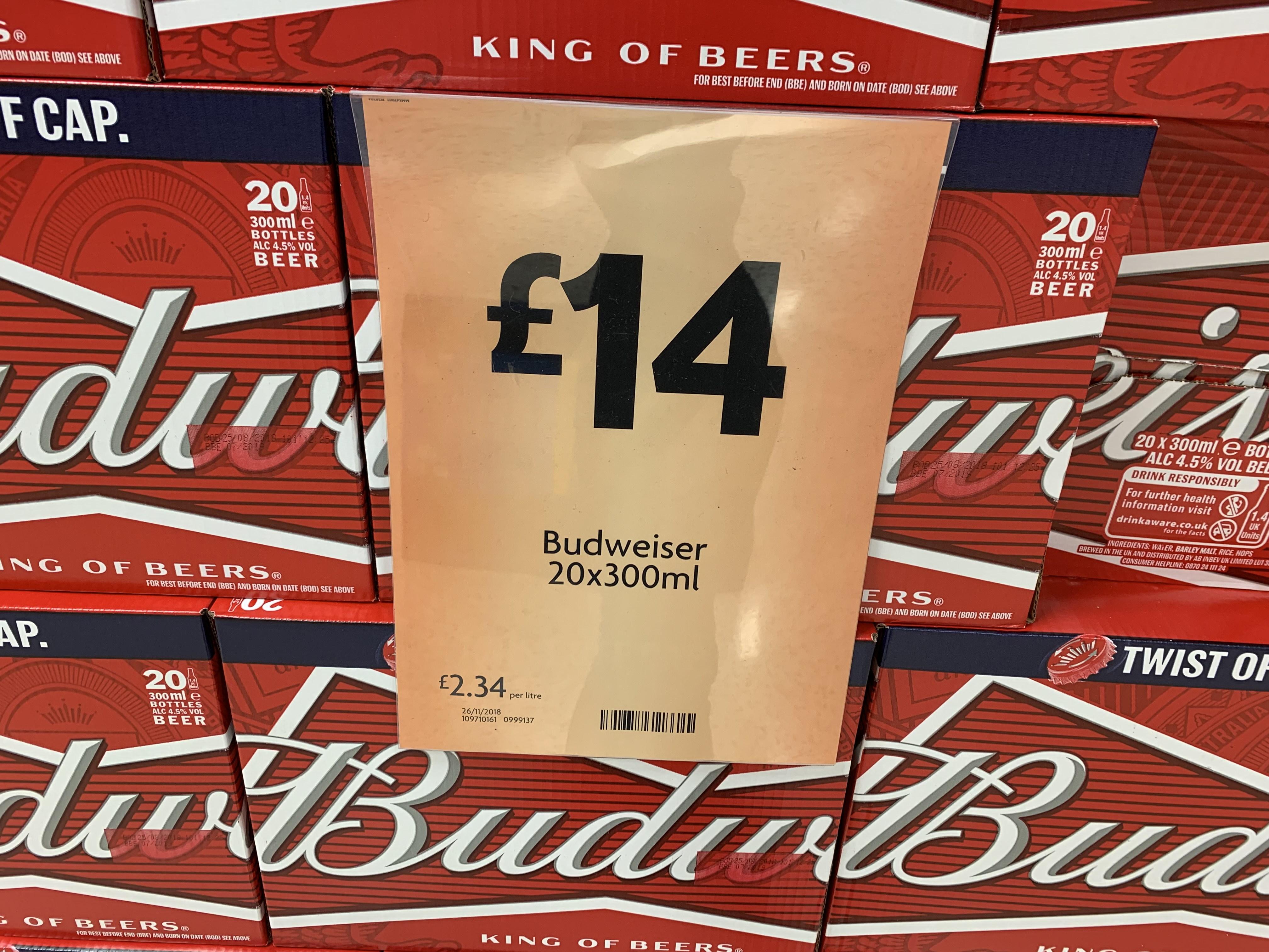 Budweiser 20 Bottles £14 @ Morrisons