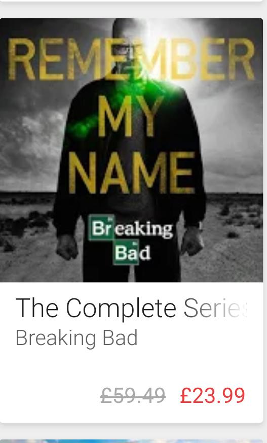 BREAKING BAD complete seasons 1-6 £23.99 on Google Play