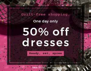 50% off All Dresses today only @ Long Tall Sally