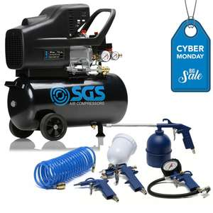 24 Litre Air Compressor & 5 Piece Tool Kit - 9.6 CFM, 2.5 HP £95.99 SGS Engineering UK