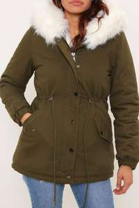 Khaki Faux Fur Lined Hooded Parka £18 + £3.99 del at  isawitfirst