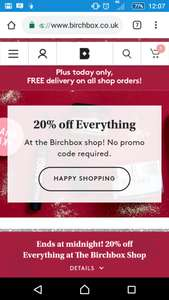 20% off and free delivery on shop items @ Birchbox