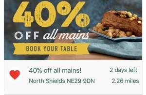 40% off all mains till Thursday at Harvester
