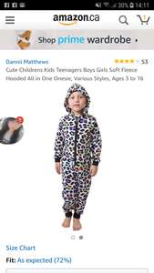 Kids onesie age 7-8 £3.95 delivered Dispatched from and sold by Dannii Matthews Amazon