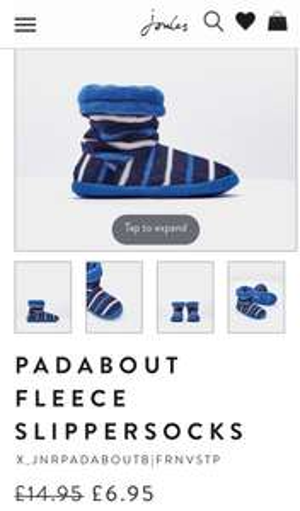 Padabout Fleece Junior Slippersocks £6.25 @ Joules
