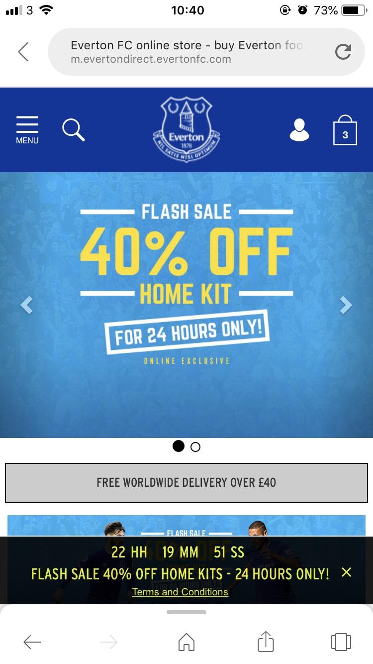 Everton FC store  Flash Sale  - 40% off Home kit