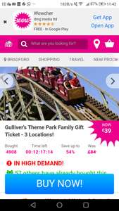 Gulliver's theme park family ticket for 4. Use now or 2019 £39 @ Wowcher