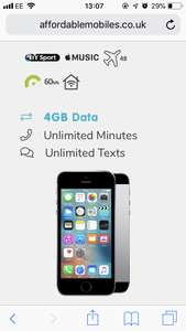 iPhone SE 32GB,4GB data £19pm 24 months unlimited mins / texts £456 @ Affordable mobiles