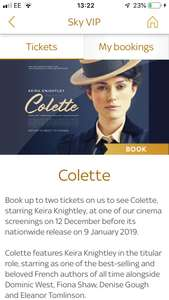 Free Sky Screening of Colette with Sky VIP