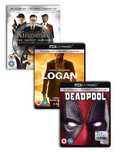 Deadpool, Logan, Kingsman Secret service 4k Blu Ray £24.99 theentertainmentstore Ebay