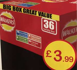 Walkers Crisps 36 Big Variety Box 10 Cheese & Onion, 10 Ready Salted, 8 Salt & Vinegar 8 Prawn Cocktail only £3.99 @ Farmfoods
