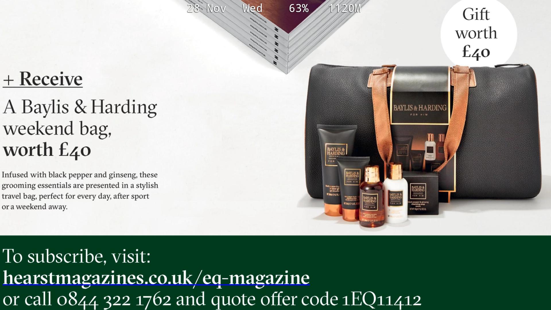 1 year Esquire Magazine sub + Baylis & Harding Weekend Bag £28 @ Hearst magazones