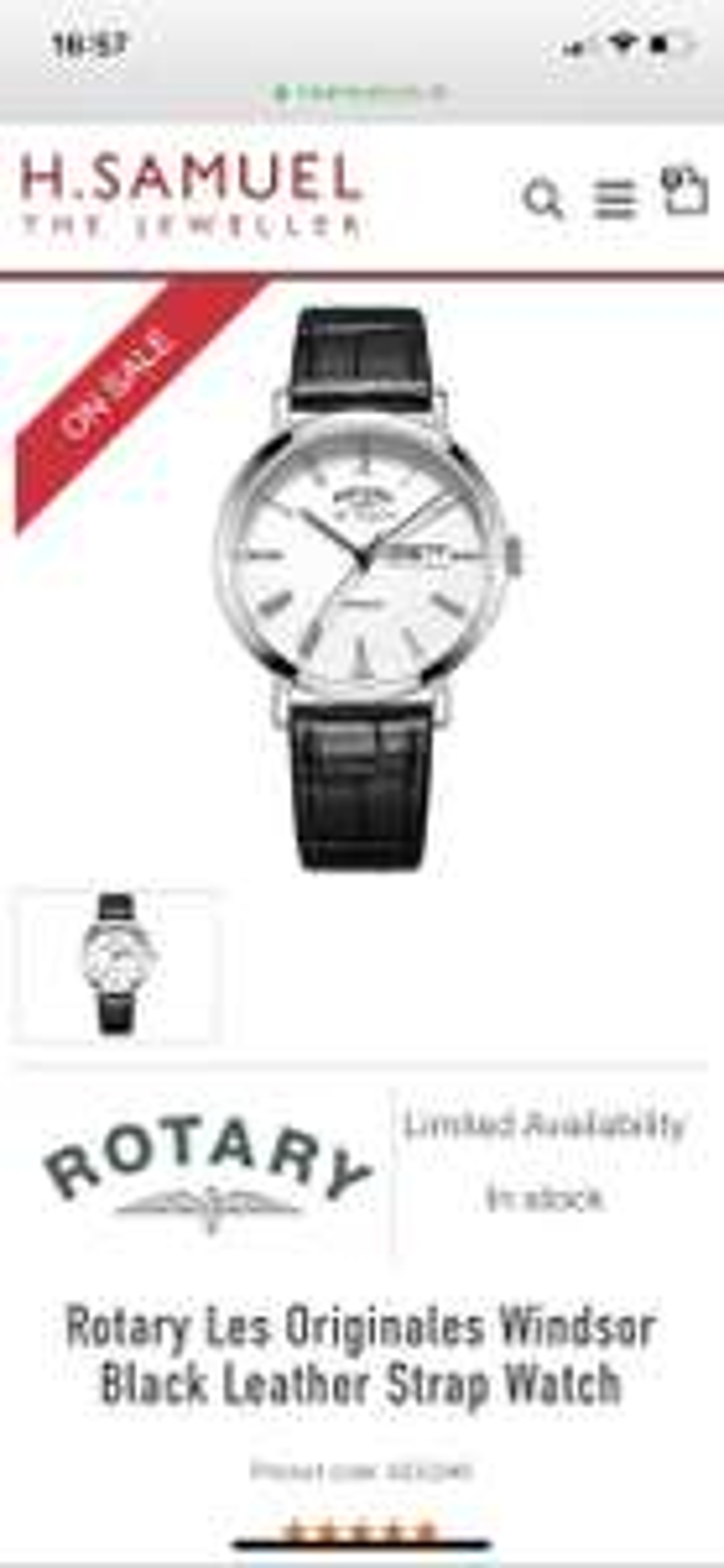 Rotary Windsor Swiss Made Watch - £53.99 @ H Samuel