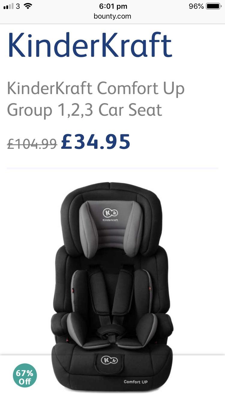 KinderKraft Comfort Up Group 1,2,3 Car Seat - £34.95 @ Bounty Parenting Club