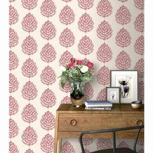 Willow leaf red or gold glitter detailed wallpaper now £2.99 @ B&M