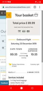 One way flights from Cape Town, South Africa to Gatwick £89.99pp @ Thomas Cook Airlines