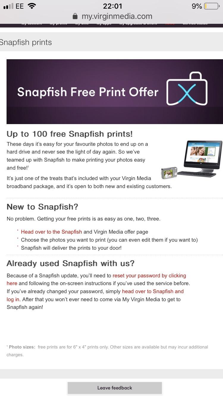 100 free 6x4 prints for virgin media customers at Snapfish