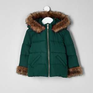 girls green faux fur padded coat £15 @ river island free c&c