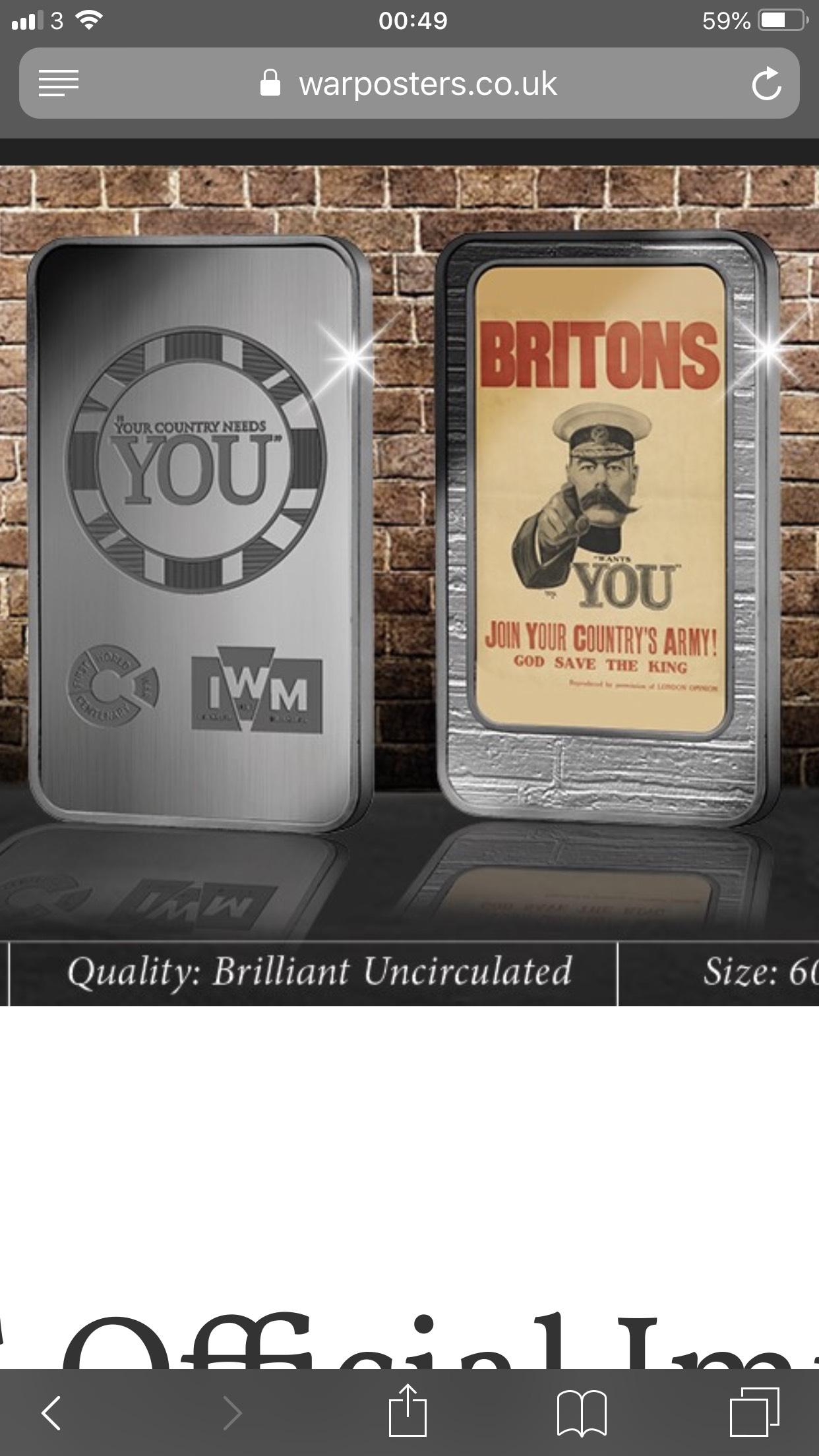 Free WW1 Official War Museum Silver Layered Ingot - £2.50 p&p