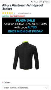 Altura Airstream Windproof Jacket In yellow and black all sizes £17.65 delivered with code at Ribble 4% TCB