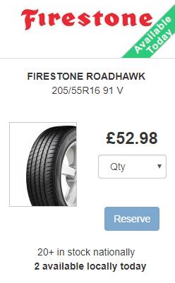 FIRESTONE ROADHAWK 205/55R1691V £52.98 @ britanniatyres