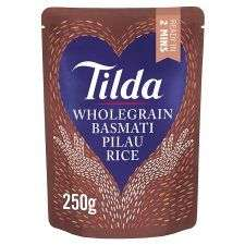Tilda Pure & Brown Basmati Rice & Pilau & Wholegrain Basmati Rice 250g 79p Easy Cook Long Grain Rice 500G only £1 @ Tesco