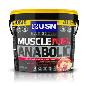 Mammouth 4kg Tub for the price of 2kg!!! USN Muscle Fuel Anabolic Strawberry 4000g Powder with FREE Delivery @ Holland&Barratt