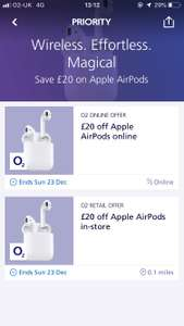 Apple AirPods £20 off with O2 Priority - total £139