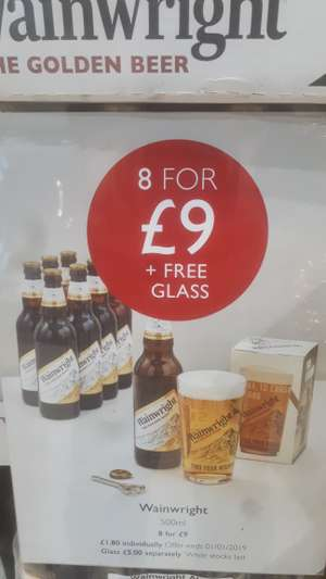 Wainwrights ale £9 for 8x500ml bottles + free glass £9 @ Booths