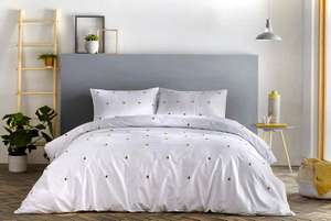Signature - Chester - 100% Cotton Duvet Cover Set   King Size   White Bedding with Ochre Yellow Tufts @ Amazon £15.64