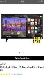 Luxor 43 inch 4K Ultra HD, Freeview Play, Smart TV £249 / £255.99 delivered @ Very