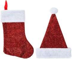 Santa Hat & Christmas Stocking Set -  £1.92  free c and c or free delivery over £10.00 At CPC