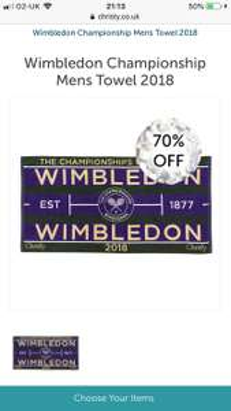 Men's and Women's Wimbledon Championship Towels £9 @ Christy's