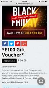 Marco Pierre White £50 for a £100 voucher. Deal extended until Dec 2nd