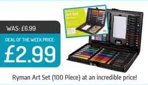 Present this voucher for Ryman Mega Art Set 100 Piece for £2.99 down from £6.99 free C&C @ Ryman