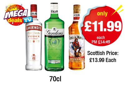 Smirnoff Red, Gordons Gin, Captain Morgan Spiced, 70cl £11.99 @ Premier Stores