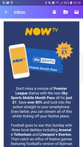 NOW TV... Sports Mobile Month Pass all for just £1. Save over 80% just got this on my email...
