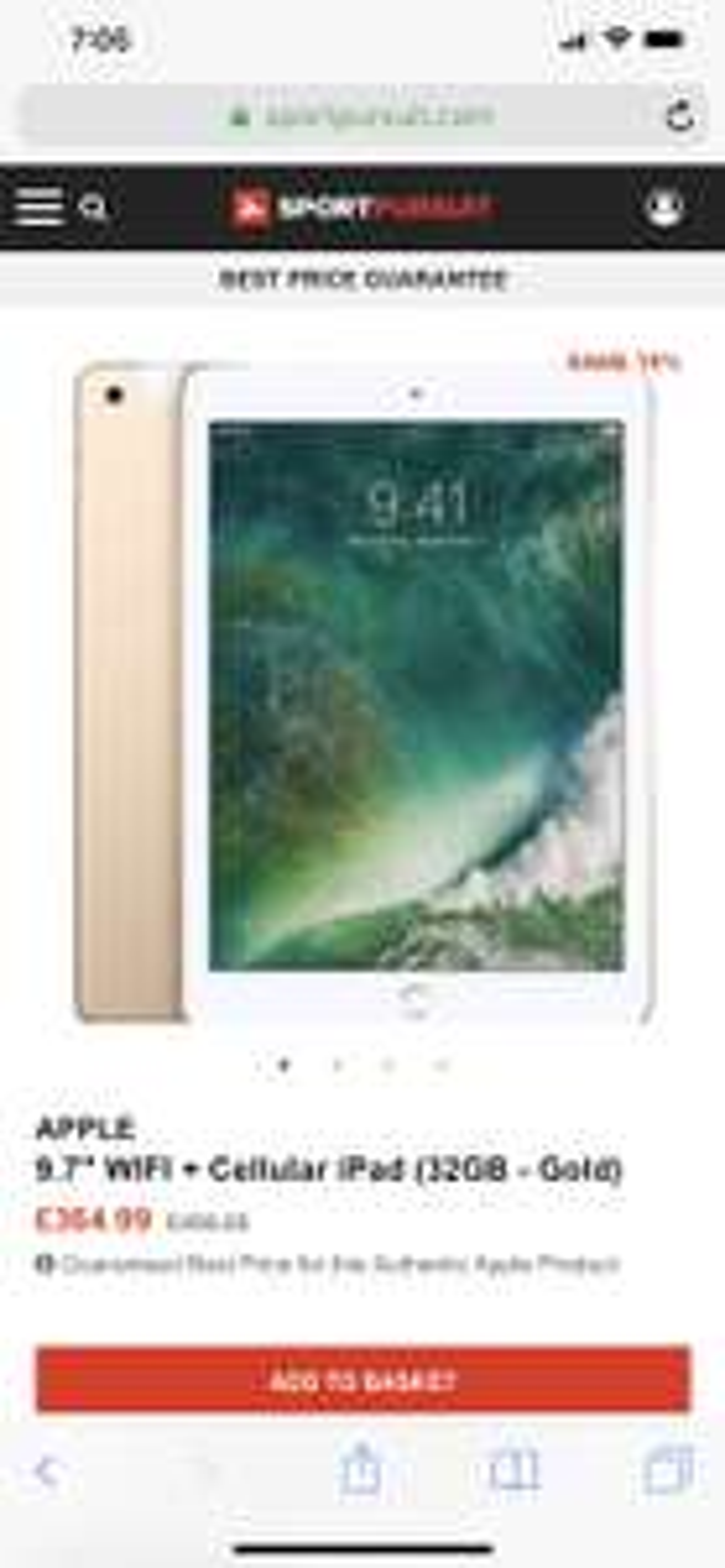 """APPLE 9.7"""" WIFI + Cellular iPad (32GB - Gold) £369.98 @ sportpursuit.com"""