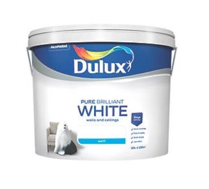 DULUX MATT EMULSION PAINT PURE BRILLIANT WHITE 10LTR £19.99 at Screwfix