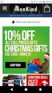 10% off full price christmas gifts @ menkind