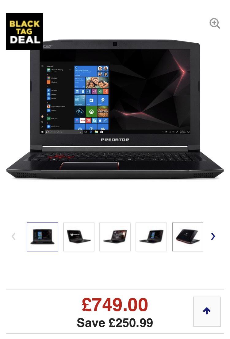 "ACER Predator Helios 300 15.6"" Intel® Core™ i5 GTX 1050 Ti Gaming Laptop - 1 TB HDD & 128 GB SSD £749 (+£30 Quidco cashback) @ Currys"