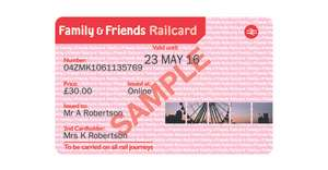 Family and friends Railcard £15 using Tesco clubcard