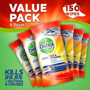 Dettol Big and Strong Kitchen Wipes, 150 Wipes, Pack of 6 x 25 @ Amazon £12 Prime £16.49 Non Prime.Free Delivery With Code Until 20/15