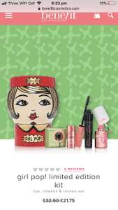 Benefit Girl Pop Set £21.75 + £2.95 p&p £24.70 @ Benefit Cosmetics + use code BeneBestie for free fun sized primer + 2 free samples