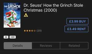 4K HDR Dr seuss how the grinch stole christmas 2000 £3.99 @ iTunes